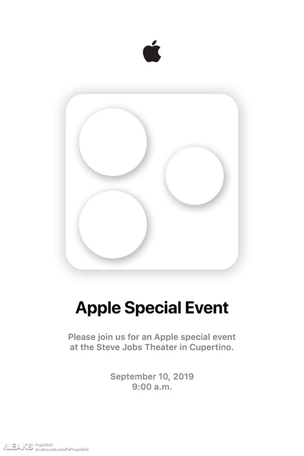 苹果秋季发布会邀请函疑曝光:三摄摄像头或被证实