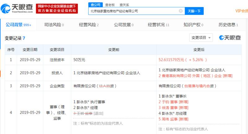 北京链家置地房地产经纪有限公司引入香港股东