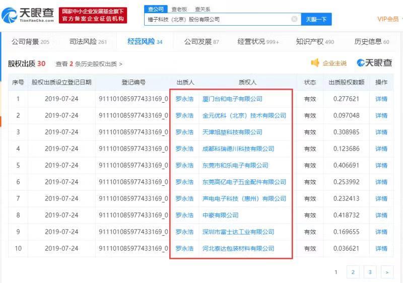 罗永浩再次出质锤子科技股权给多家电子科技企业